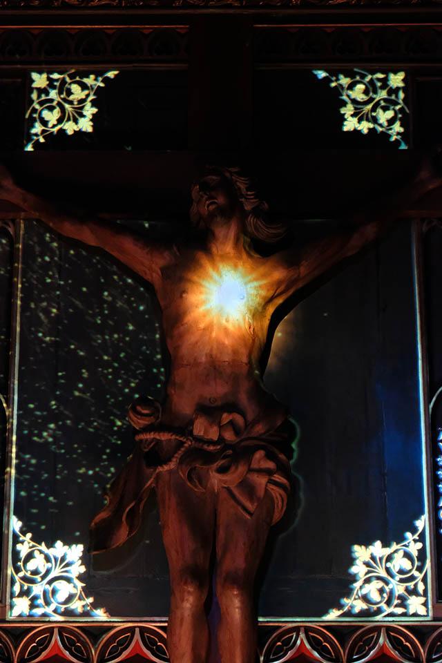 Aura in der Basilique Notre Dame Montreal Jesus flammendes Herz